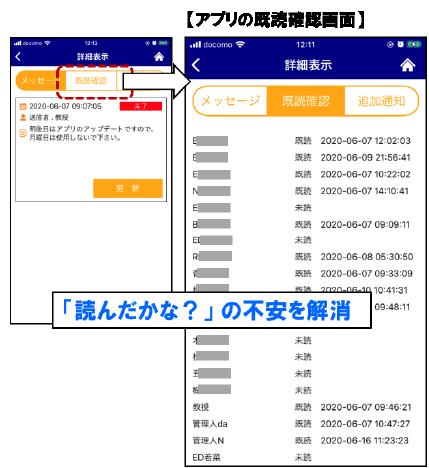 アプリの既読確認画面